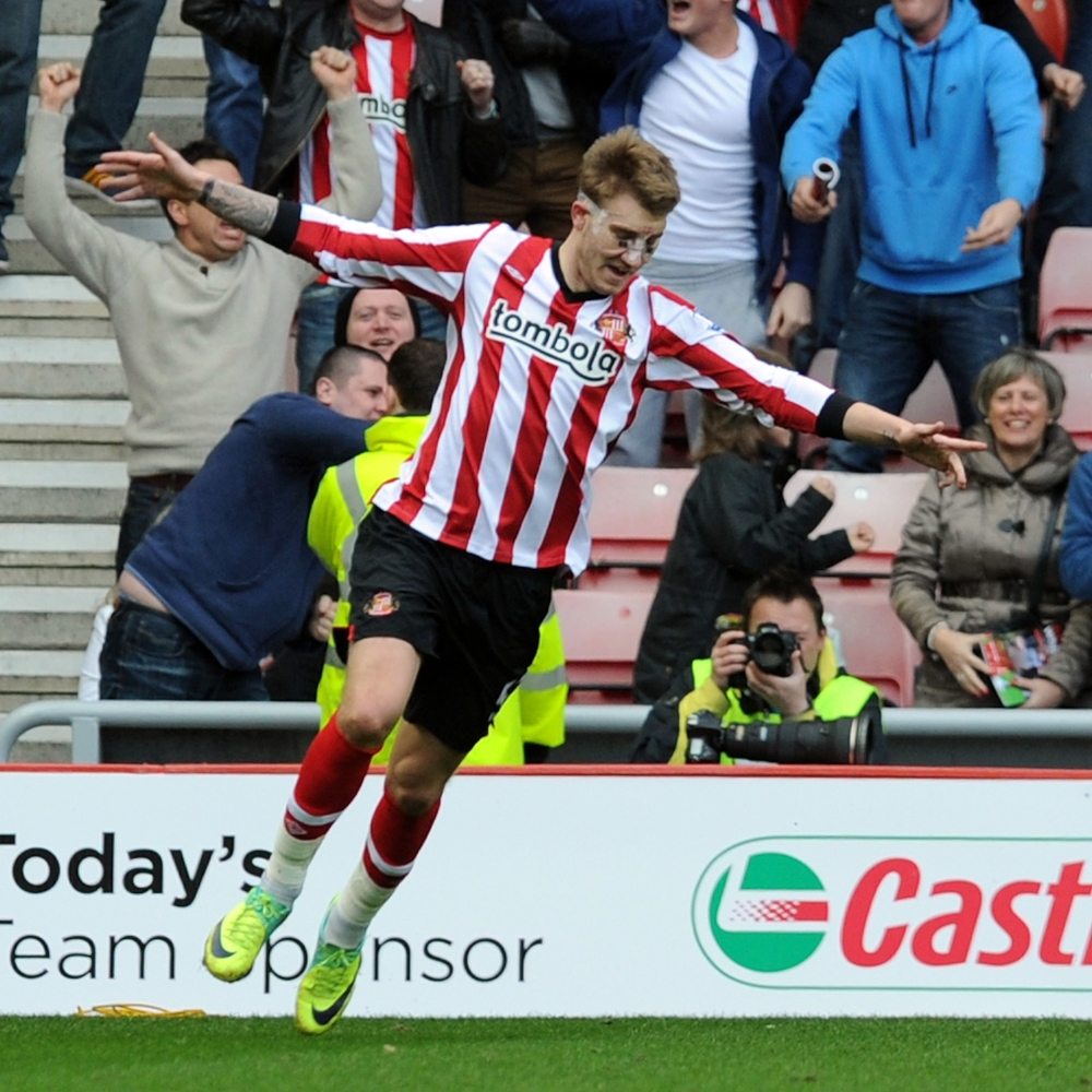 Dengang han spillede... Nicklas Bendtner scorer for Sunderland.   Foto: John Powell/Getty Images
