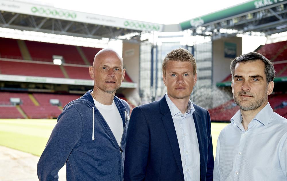 FCKs ledelse: Ståle Solbakken, Johan Lange og Anders Hørsholt. Foto: Getty Images/Jan Christensen.