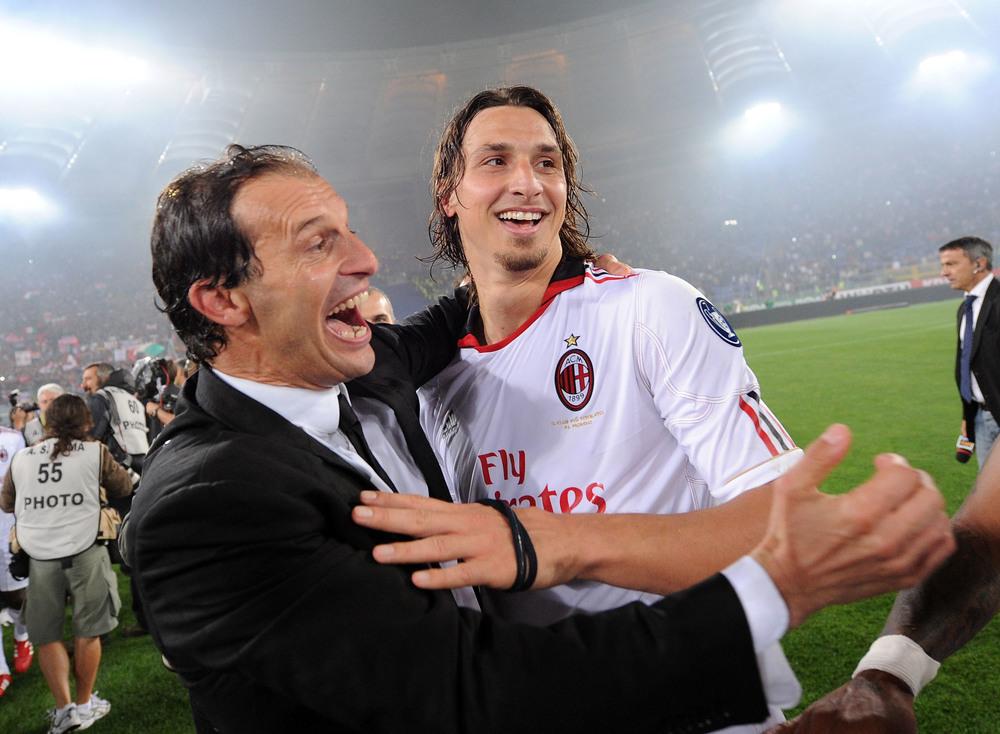 I dag har Allegri stor succes i Juventus. Her er han med Zlatan Ibrahimovic. Men hos Milan fik han primært kritik fra Berlusconi. Foto: Getty Images/Giuseppe Bellerin.
