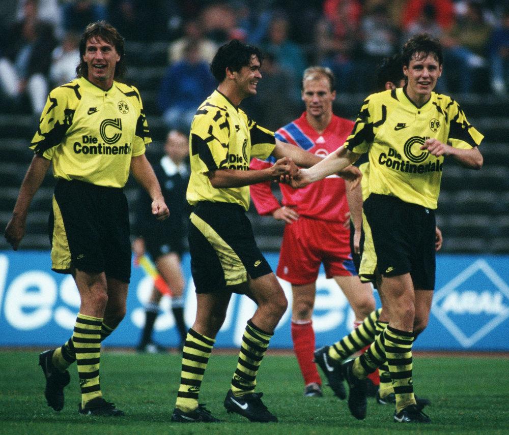 Schultz, Poschner og Povlsen. Foto: Getty Images/Bongarts