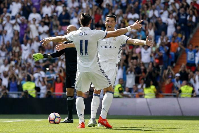 Ronaldo og Bale i splitsekundet før et velfortjent kram. Foto: Getty Images