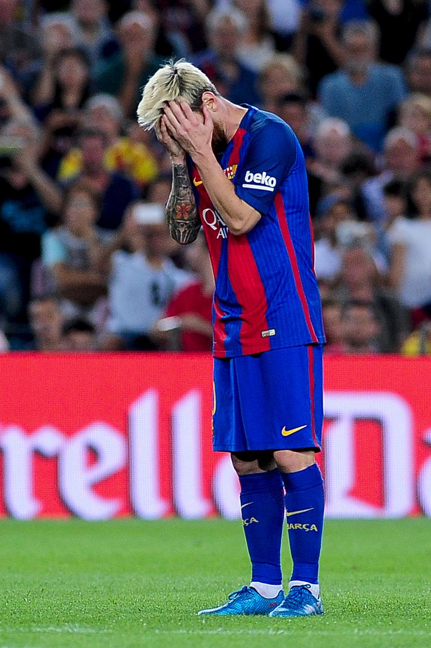 Lionel Messi græmmer sig i opgøret mod Alaves. Foto: Getty Images