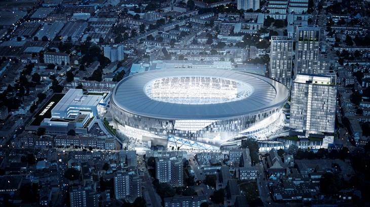 En computeranimation af det kommende stadion, der er under opførelse i umiddelbar nærhed af White Hart Lane.   Foto: Tottenhamhotspur.com