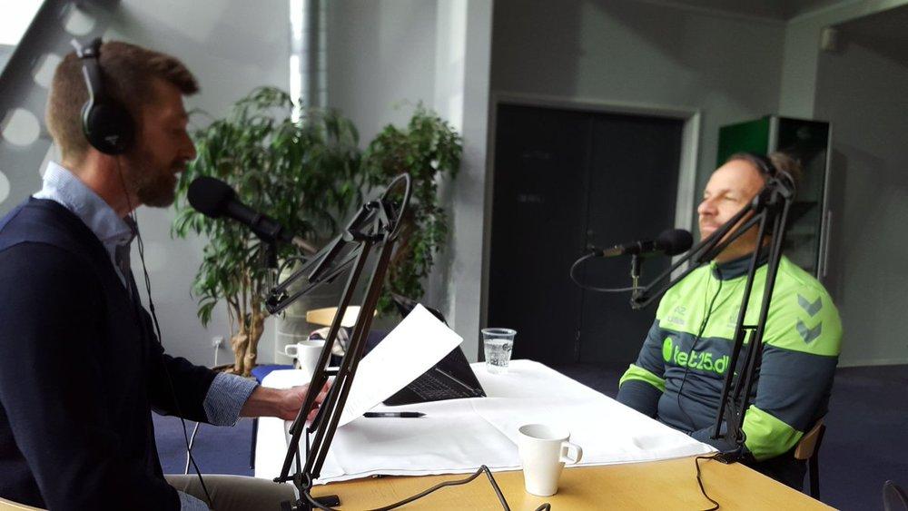 Alexander Zorniger (th) i samtale med Medianos Peter Brüchmann. Foto: Daniel Sichlau.