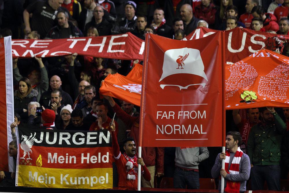 Tilhængerne på Anfield knuselsker Jürgen Klopp. Foto: Getty Images