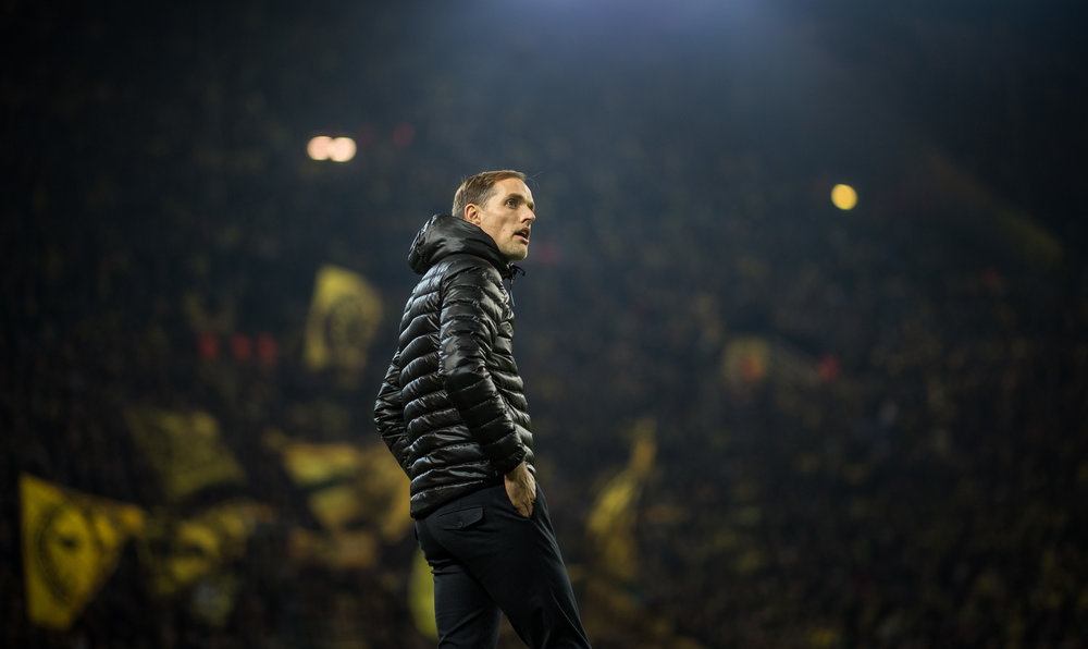 Thomas Tuchel foran den gule væg på hjemmebanen i Dortmund. Foto: Getty Images