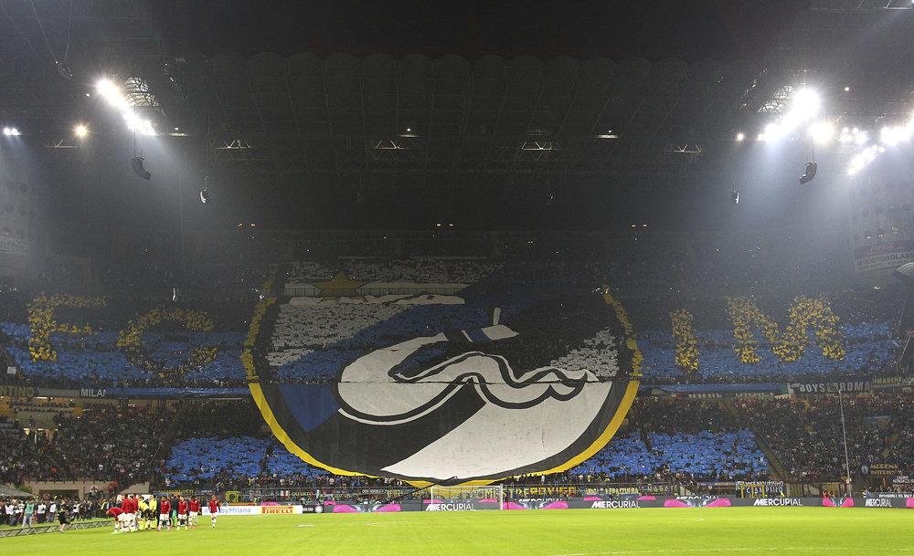 Tifoer er en central del af Derby della Madonnina - her skabt af Inter-fans. Foto: Getty Images