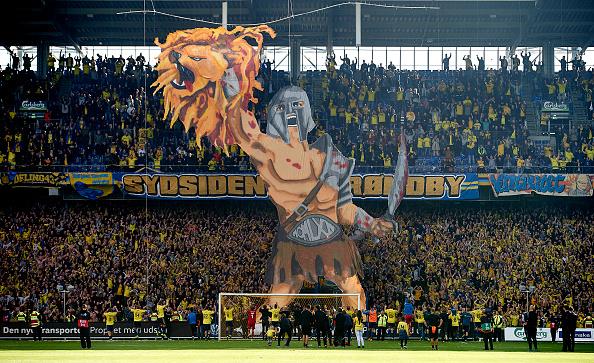 Den roste og berømmede gladiator-tifo på Brøndby Stadion. Foto: Getty Images/Lars Rønbøg