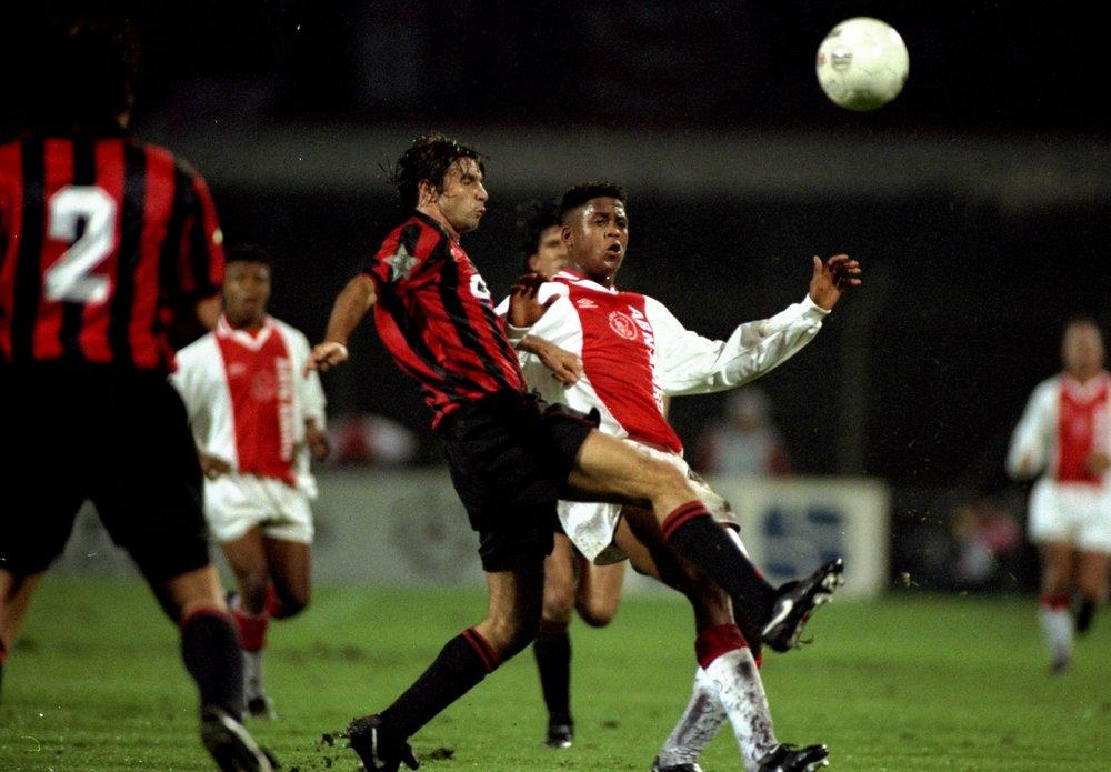 18-årige Patrick Kluivert kom på banen med 20 minutter igen i Champions League-finalen 1995, hvor modstanderen var Milan - seks minutter før tid scorede han kampens eneste mål i en chancefattig kamp. Foto: Getty Images