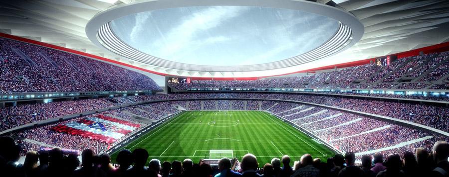 En computeranimation af det nye stadion, der venter efter sommerferien. Foto: Atletico Madrid