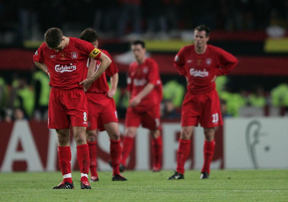 Liverpool-spillerne havde ikke de bedste 45 minutter i karrieren i 1. halvleg mod Milan.   Foto: Getty Images