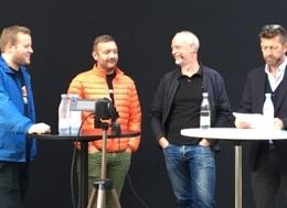 Her er panelet til 2. halvleg af Skyd på sheriffen: Det er AaBs fankoordinator Christian Golding, formand for Danske Fodbold Fans, Rasmus Trenskow, Claus Thomsen fra Divisionsforeningen og Medianos Peter Brüchmann.