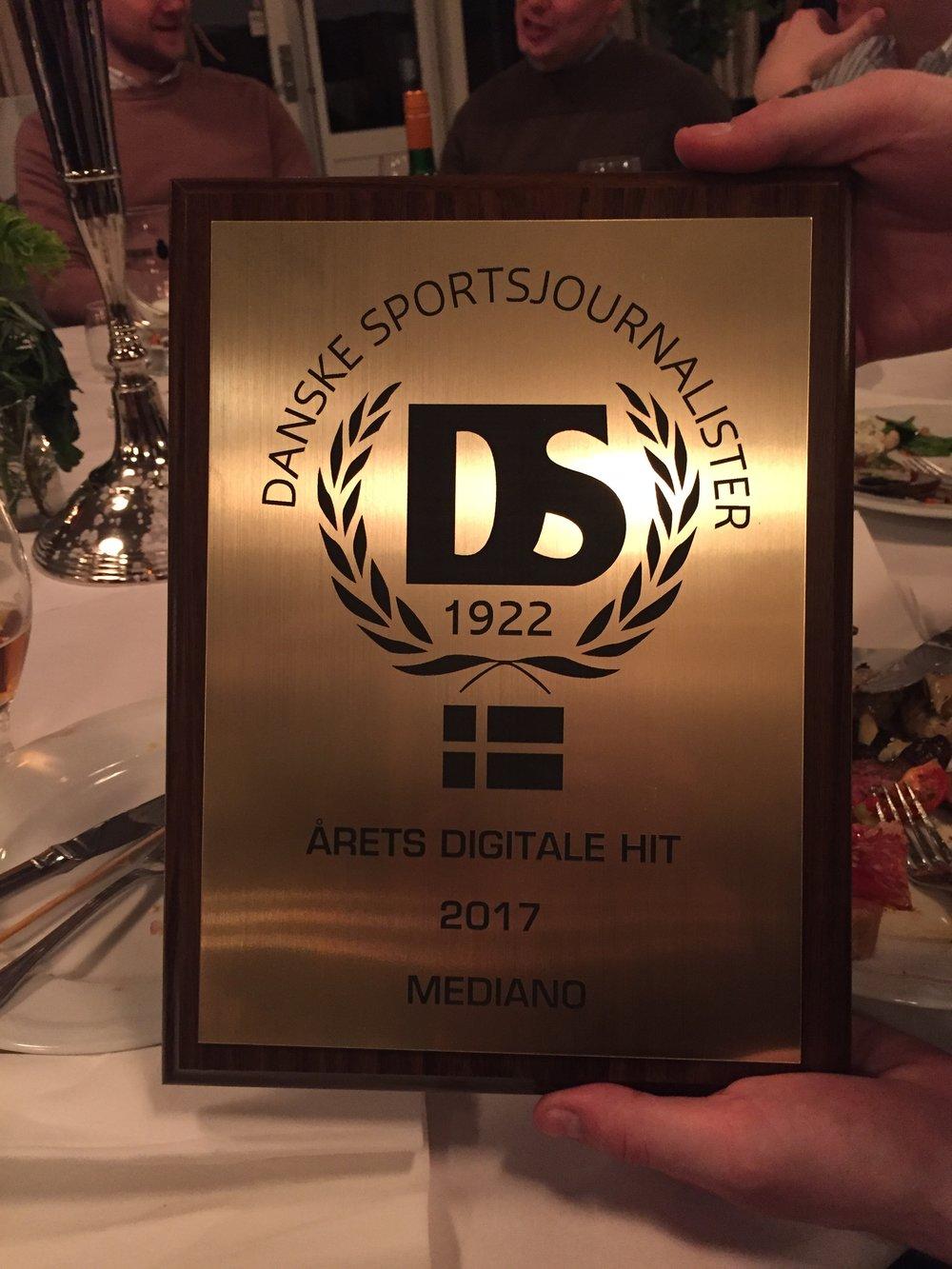 I starten af 2017 modtog vi denne fine pris fra Danske Sportsjournalister.