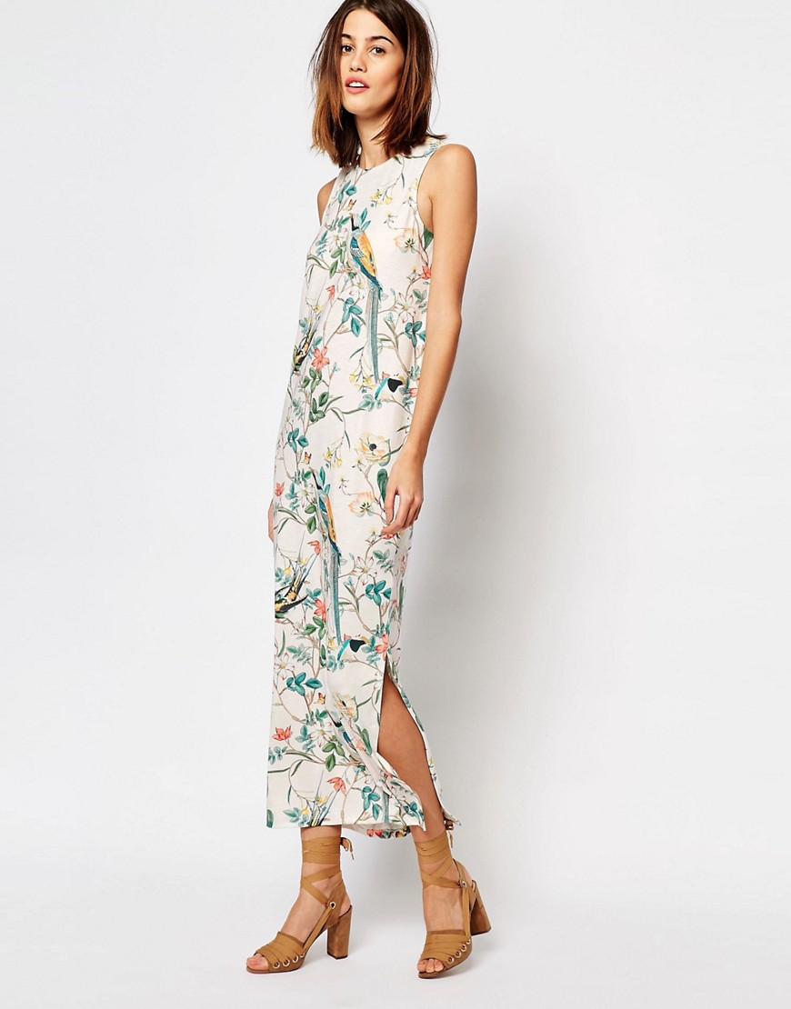 Warehouse Bird Print Column Midi Dress