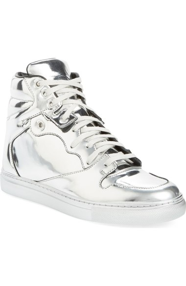 Balenciaga Metallic High Top Sneaker (Women)