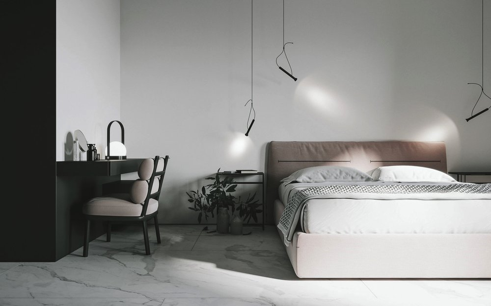 A DESK PROPERLY INSERT IN THE ROOM. THE DETAILS LIKE FLOATING LAMPS BRINGS A INTERESTING LIGHTING AROUND THE BED.