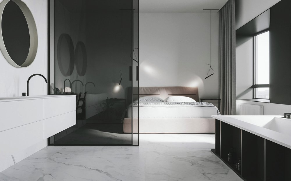 I LOVE HOW ARE COMBINE THE BATHROOM AND THE BEDROOM. LOOKS CLEAN AND GIVES A SPACIOUS SENSATION OF RELAX.