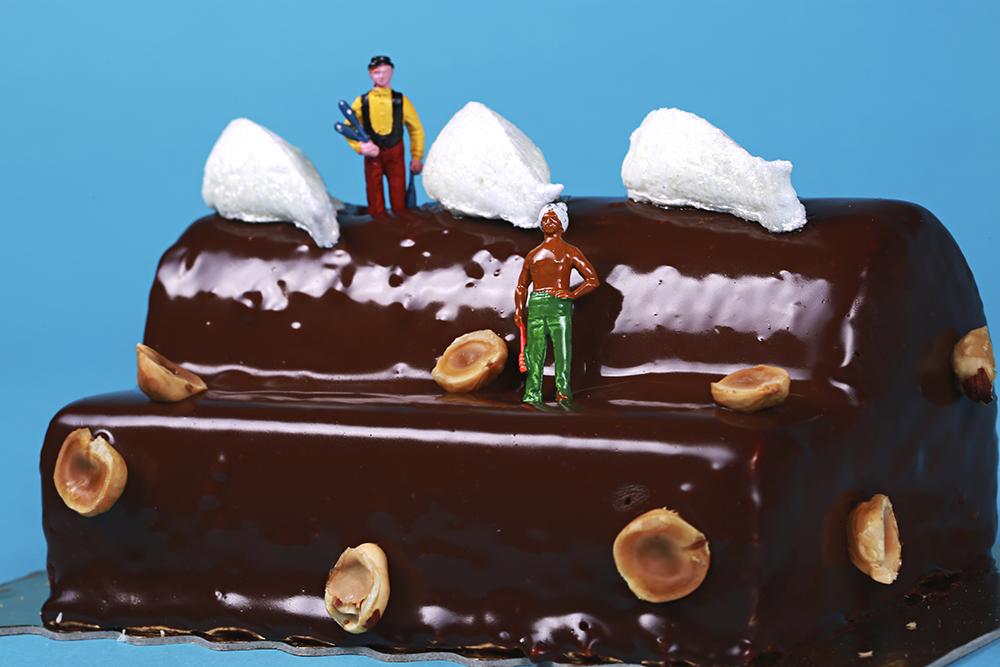 CHOCOLAT NOIR & PRALINÉ • BISCUIT CHOCOLAT • CROUSTILLANT CHOCOLAT • INSERT PRALINÉ • MOUSSE AU CHOCOLAT