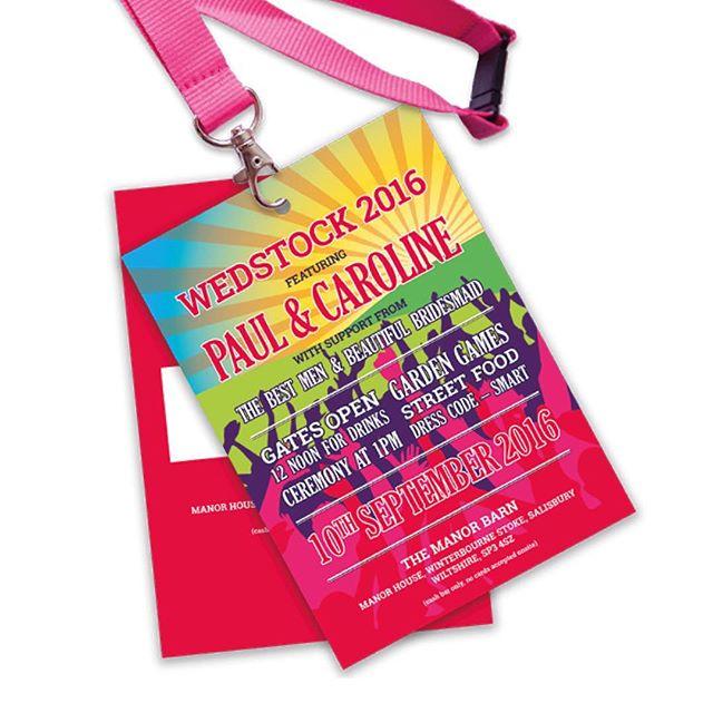 Wedstock 2016 // Bespoke invitation for Paul and Caroline's festival themed wedding #weddinginvitation #lanyard #colourful #graphicdesign #printdesign