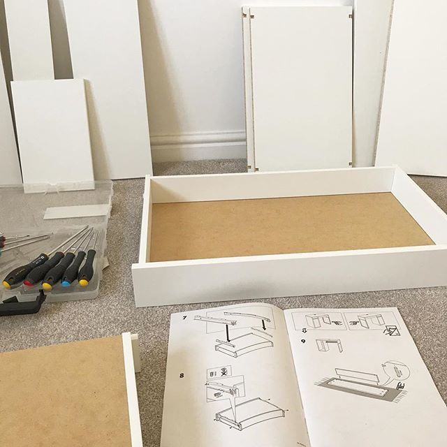 Out of the office today. Well technically I'm still here, but this is what it looks like currently! Wish me luck 😬 #deskbuilding #officeredec #thanksikea #freelancedesigner