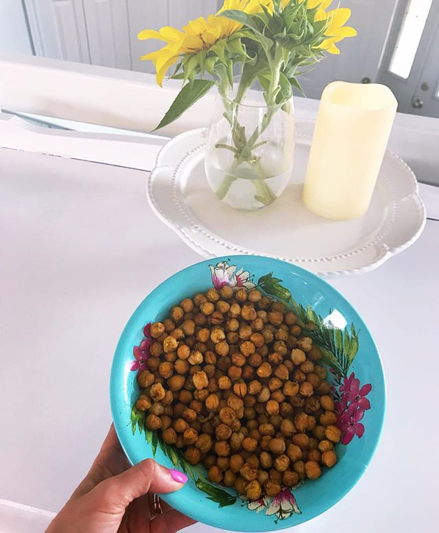 #BeachBumRecipe 💗 Coconut Golden Spice Roasted Chickpeas 💗 Rinse and drain 1 can of chickpeas, spread them out on a baking sheet, sprinkle sea salt, turmeric, ginger, cinnamon, add two tbs of coconut oil and drizzle a touch of maple syrup. Put them in the oven on 375f for 20 mins. Give the sheet a little shake to move the coconut oil and spices around after a few mins 😋