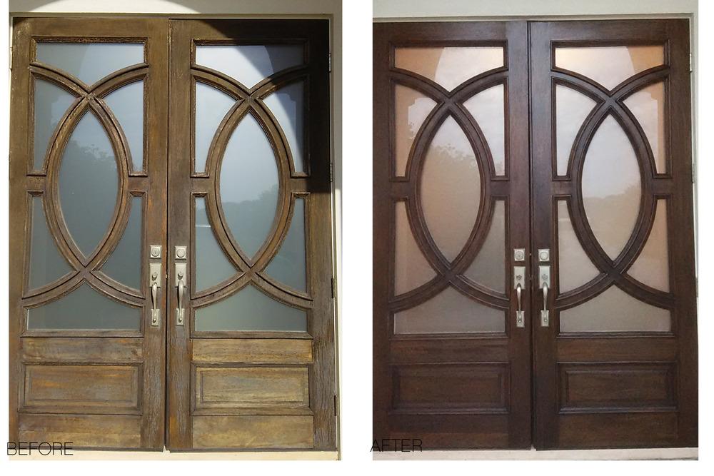Double Wood Door Refinish Jacksonville