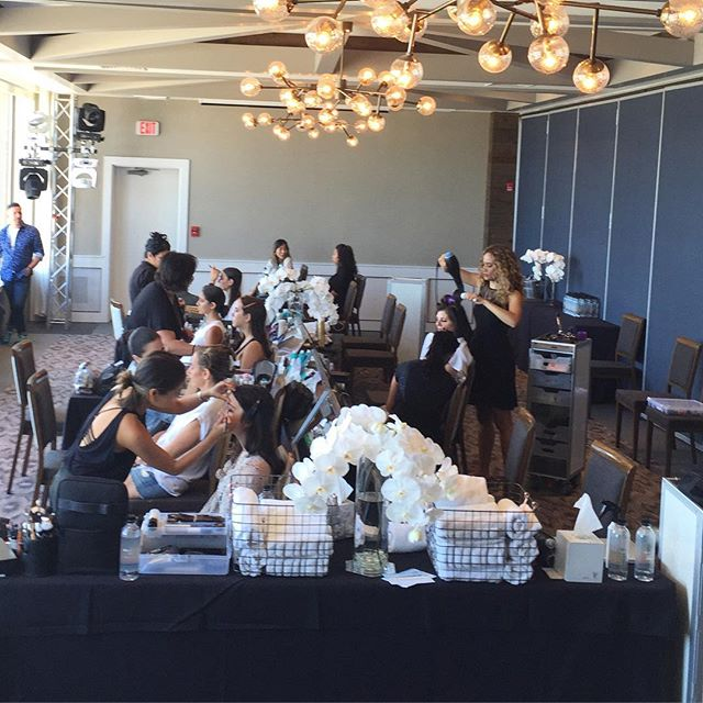 Now this is what we call back stage for wedding hair & makeup prep!! @gurneysmontauk #Weddingproduction #beautyandthebeach
