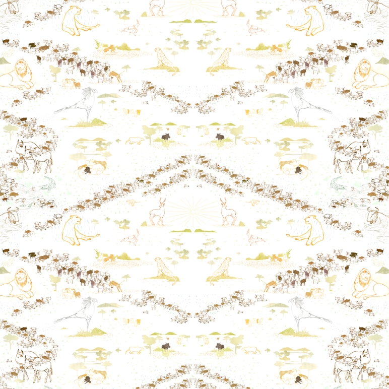 'The Great Migration' - S/S 2014 - Repeat pattern for textile or wallpaper charting the movement of Wildebeest across the plains of the Serengeti National Park in Tanzania to the greener pastures of the Maasai Mara National Reserve in Kenya. In a constant cycle following the rain, leaving prides of Lions starving and waiting for their return.