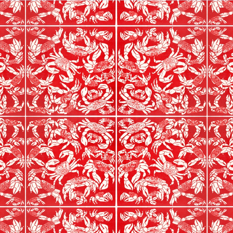 'Christmas Crabs' - S/S 2014 - A pattern inspired by the migration of the crabs of Christmas Island. At the beginning of the wet season adult red crabs begin a spectacular migration from the forest to the coast, to breed and spawn, covering the whole island in Red.