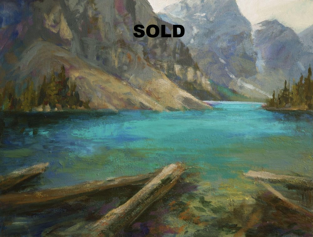 The idea for this painting came about when I was teaching.  We were discussing low key and high key paintings.   I had started this before when I was at a residency at the Banff Springs Hotel, and then continued on it after my class.   It is a quiet painting that reminds me of past hiking and camping trips.   We've worked hard to get to this spot, now it is a time of repose.
