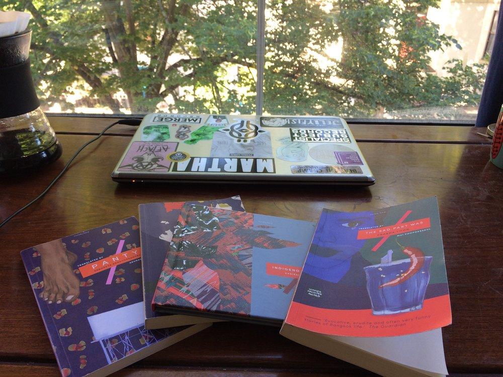 Books... coffee... desk...