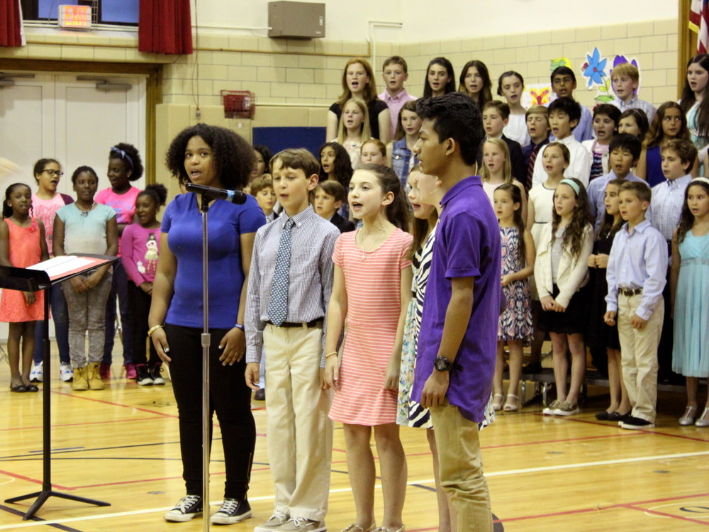 Riverside School's spring concert took on a special note. music teacher jessica punchatz, with the help of her students, arranged for students from the museum magnet school in New York City to travel to Greenwich and perform alongside her students. Credit: Katie Lawrie