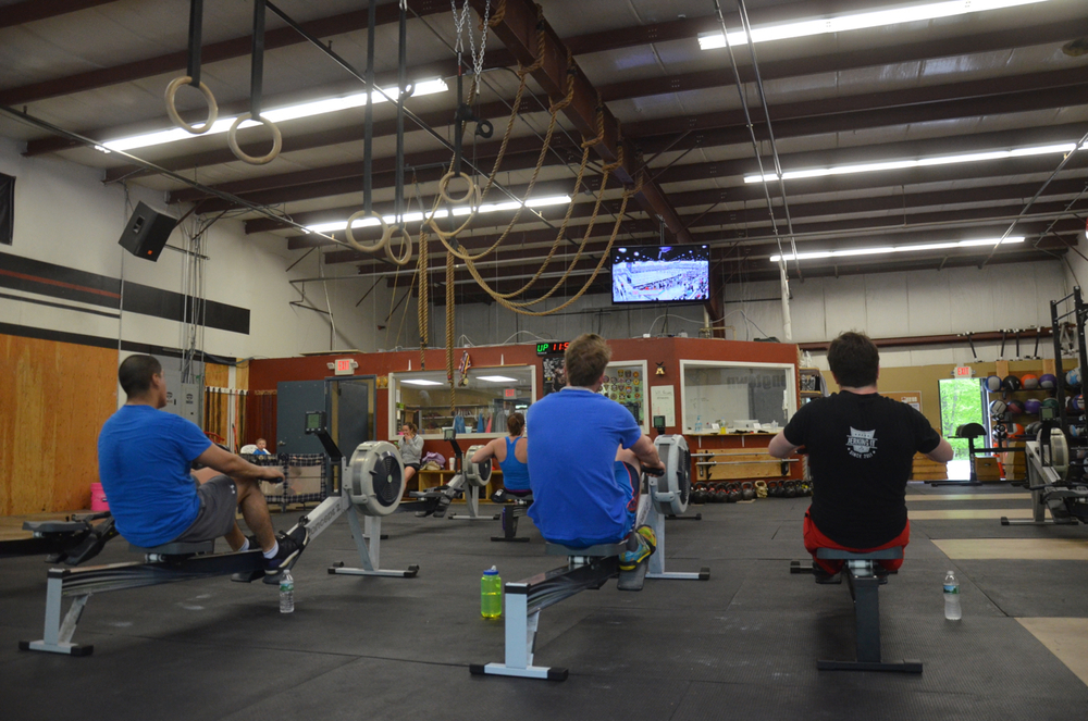 Jeff, Pauly, & Mikey enjoying a little Regionals coverage during Jerry's 2k row.