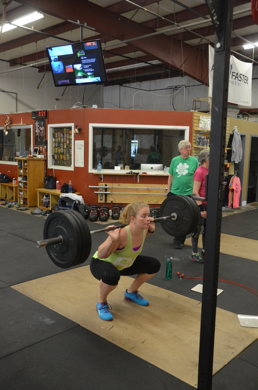 Heidi showing solid form during her back squats.