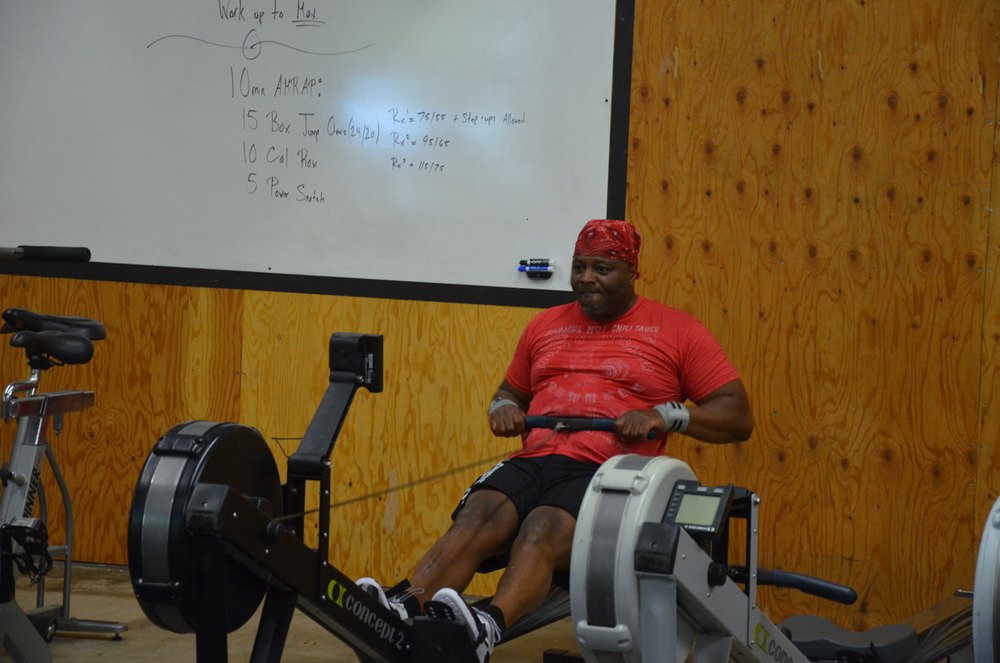 Big Mike with a strong pull on his row.