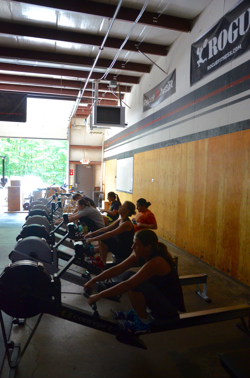 The noon class starting their 30 calorie row.