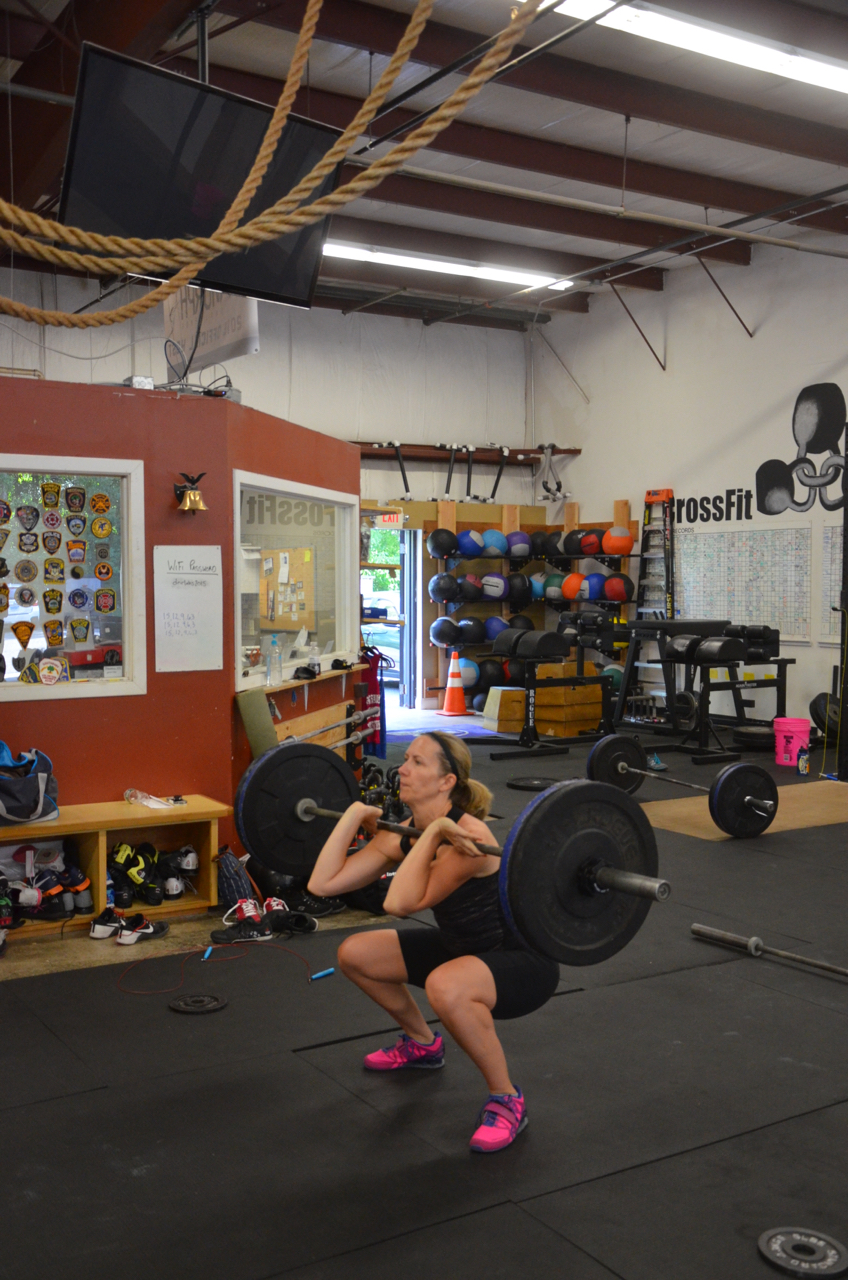 Karen finishing up her front squats.