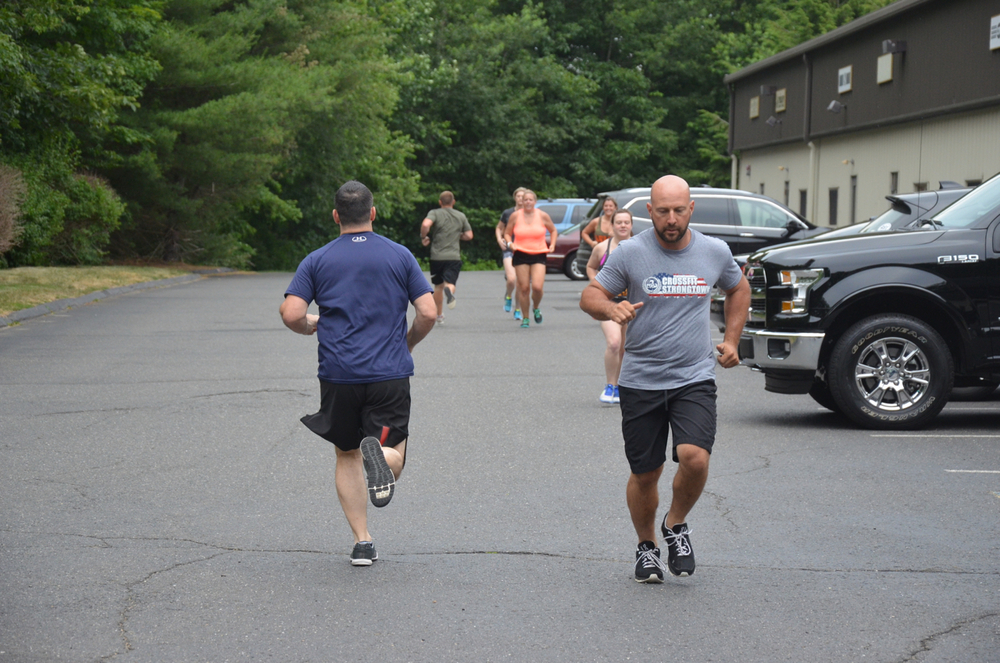 Brian rocking the new Strongtown Tee and looking great on his 400m run.