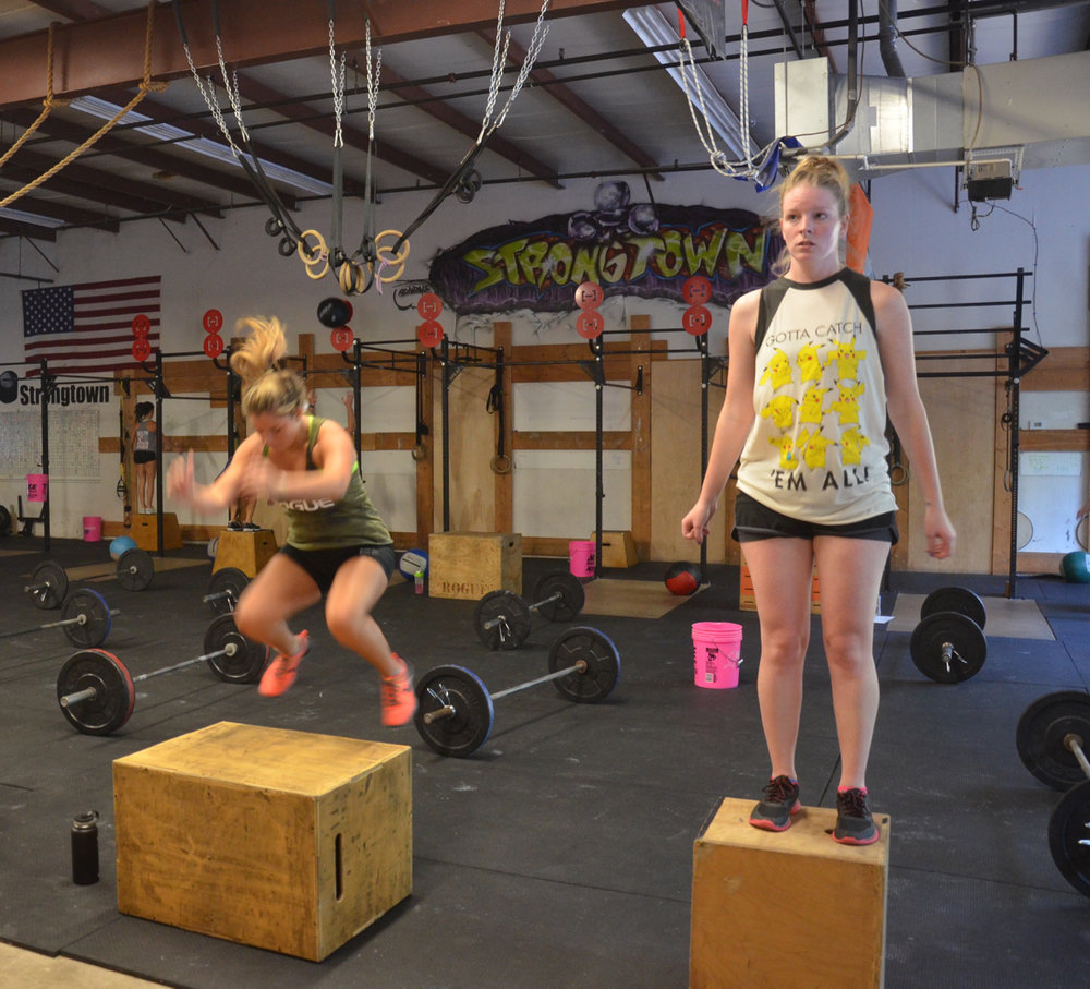 The Maeve & Steph during their box jump / step-ups.