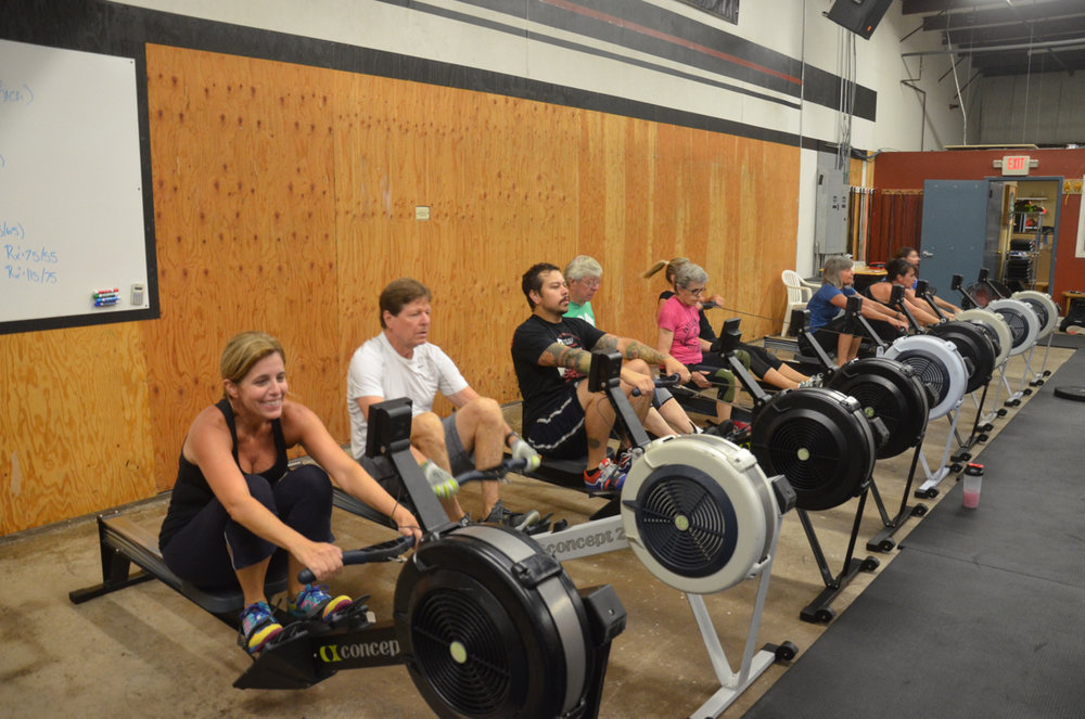 Suzy Q and the 9:30 class during their row.