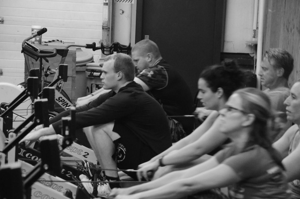The 6pm class starting their row trials.
