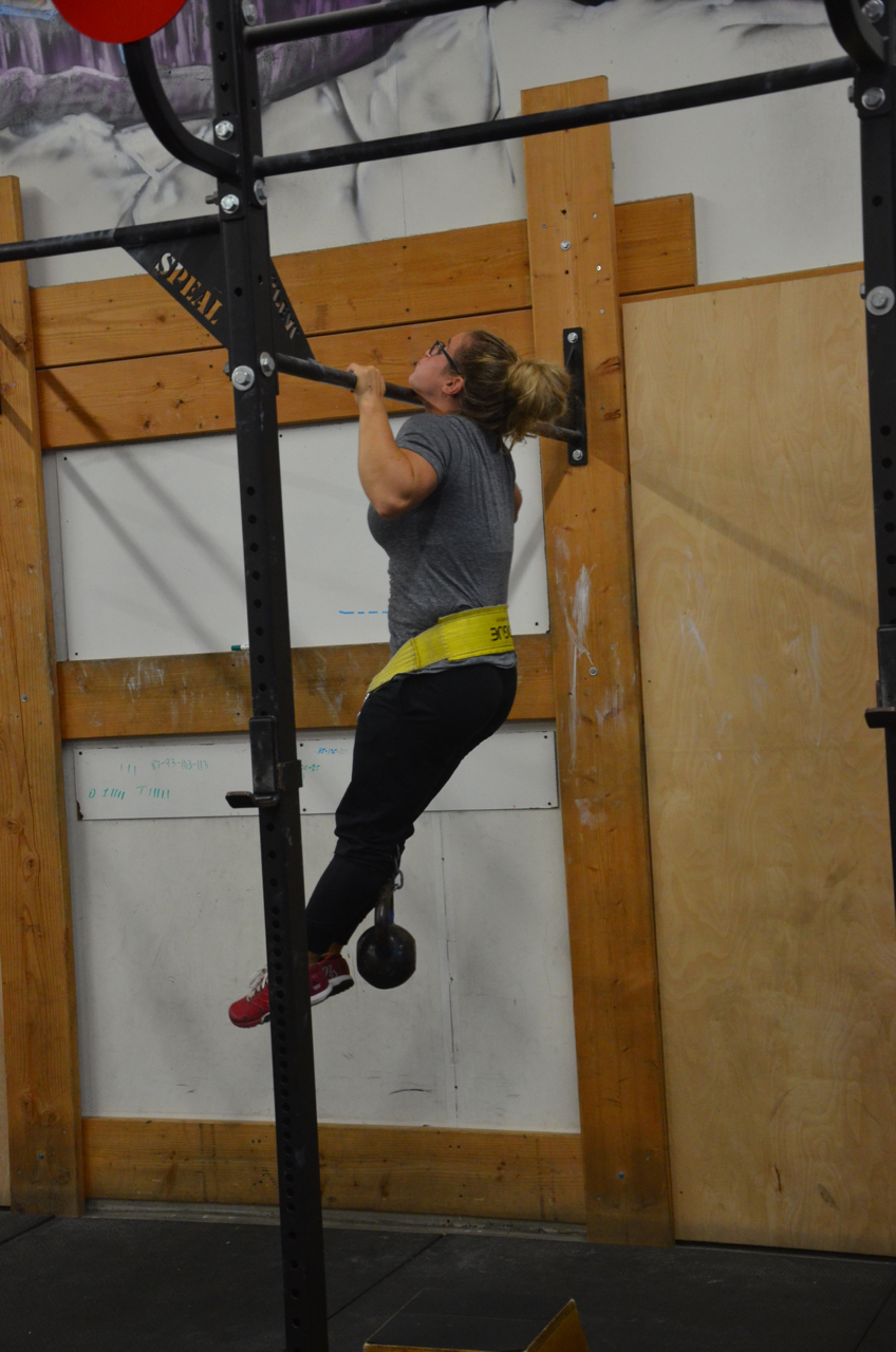 Jordan getting her chin over the bar.