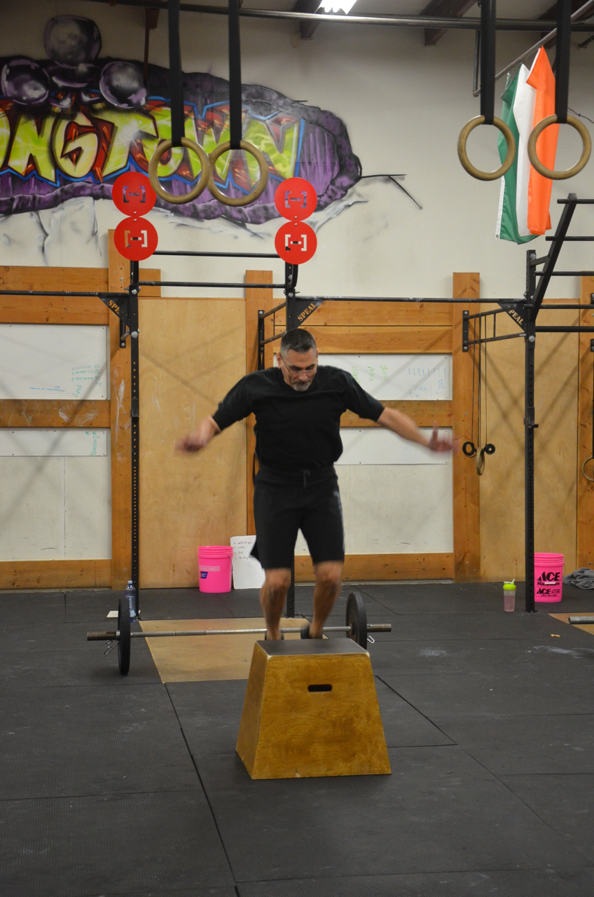Cliff getting air on his box jump overs.