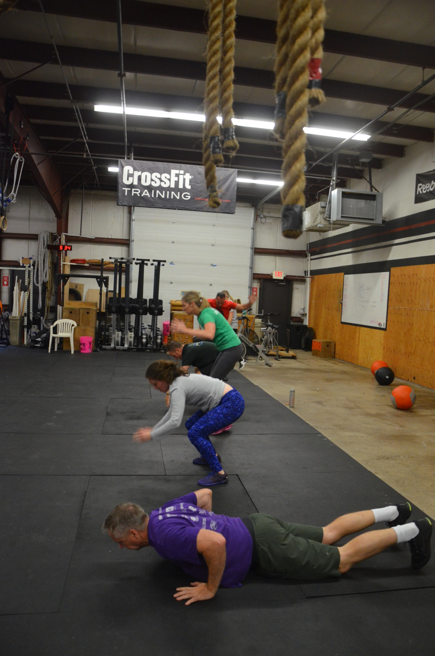 Dave and the 5pm class working through their burpees.