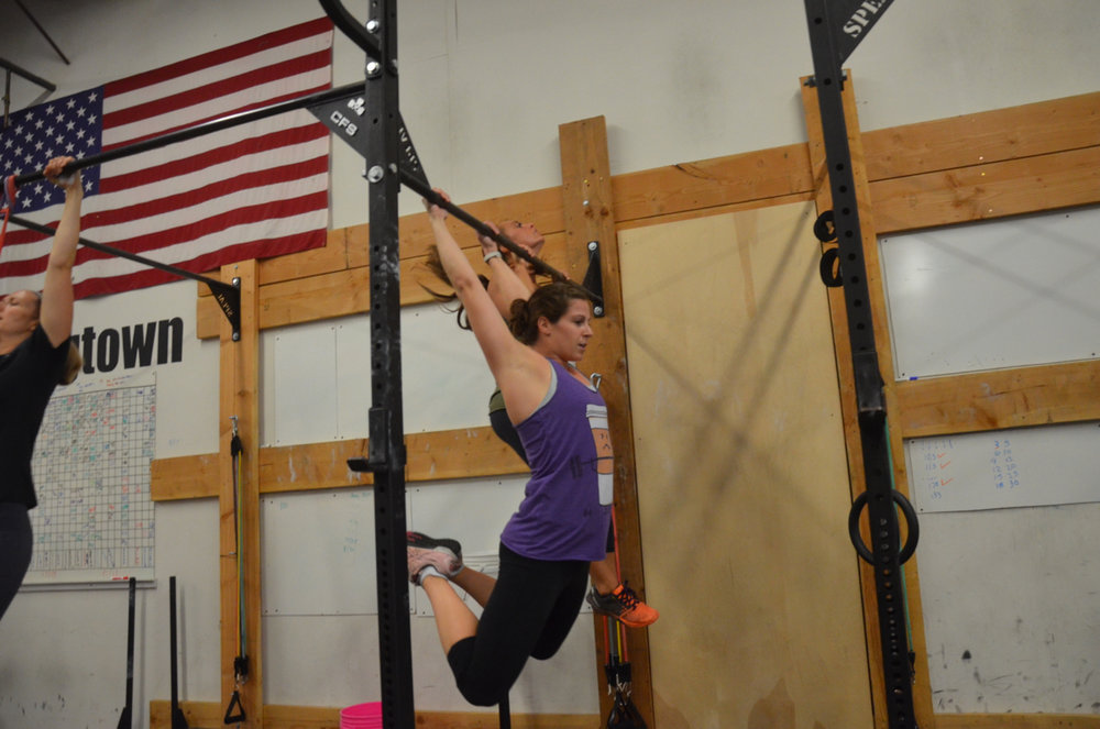 Gail looking strong on her pull-ups.