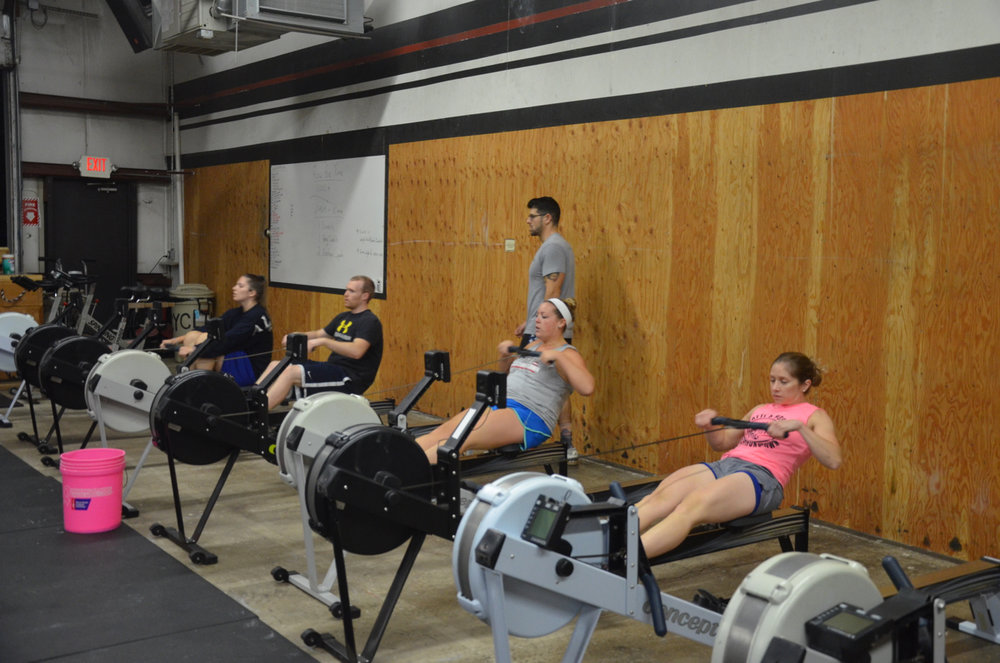 The 6pm class starting their 1,000m row.