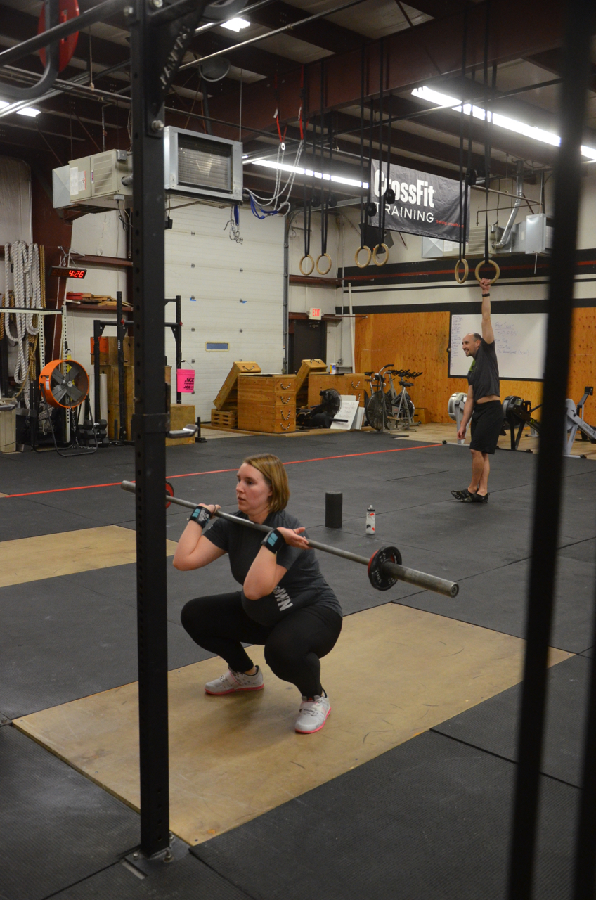 Karin showing good form on her front squats.