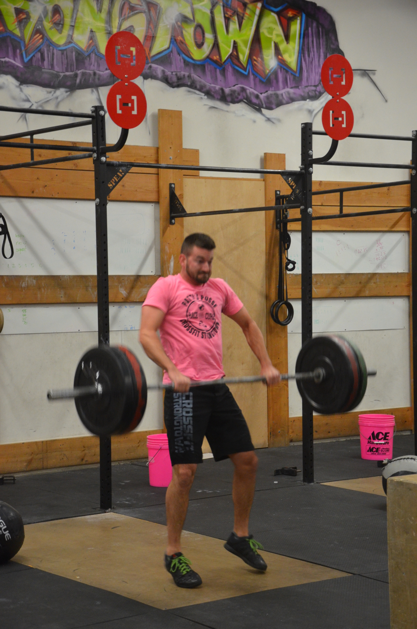 Rob with a strong pull on his power clean.
