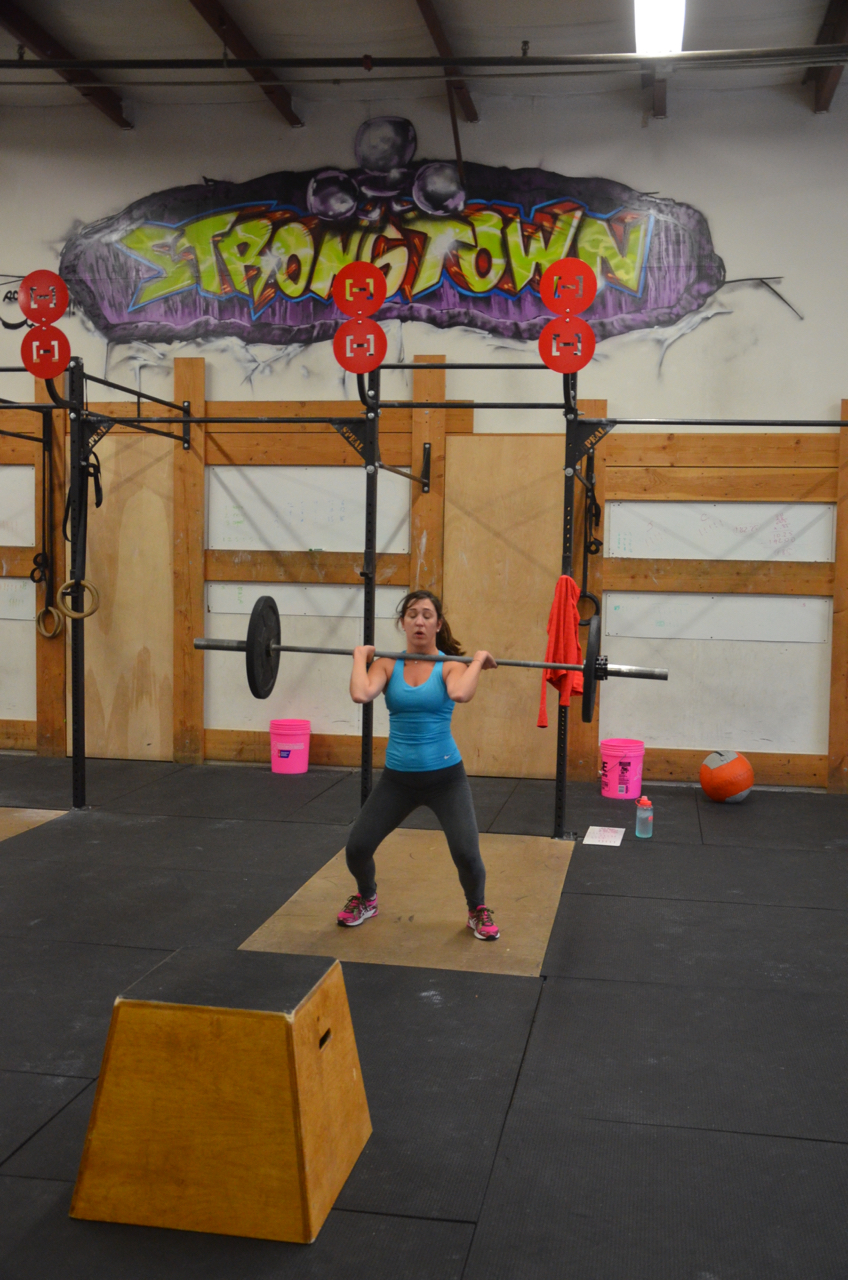 Lindsey showing good form on her power cleans.