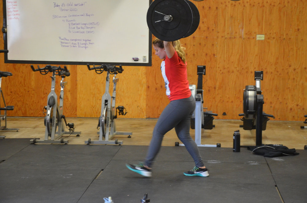 Lu going overhead on Sunday's Barbell Lunges.